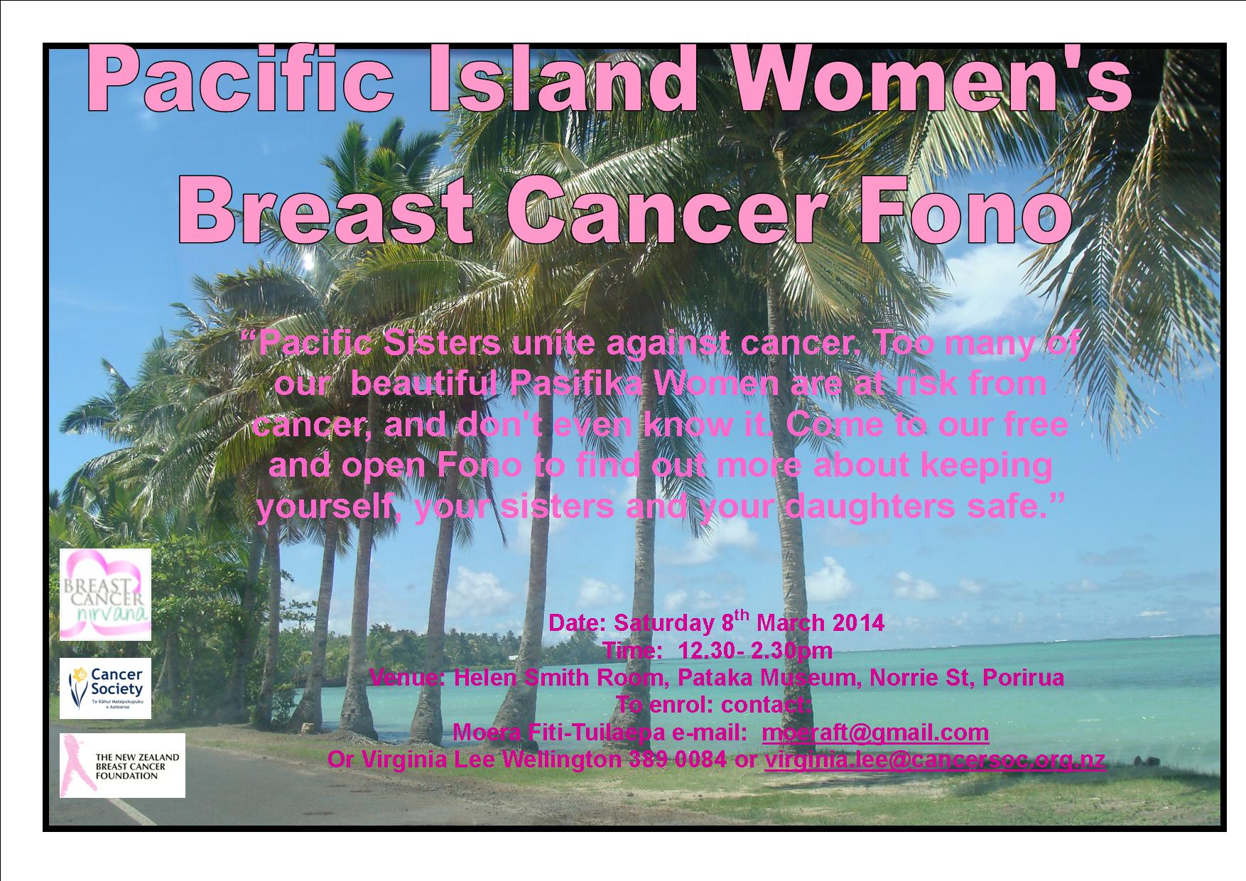 Pacific Sisters Unite – breast cancer fono March 8